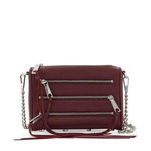 Rebecca Minkoff Five-Zip Mini Crossbody Bag Maroon